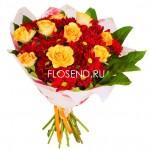 Сборный букет из роз и хризантем