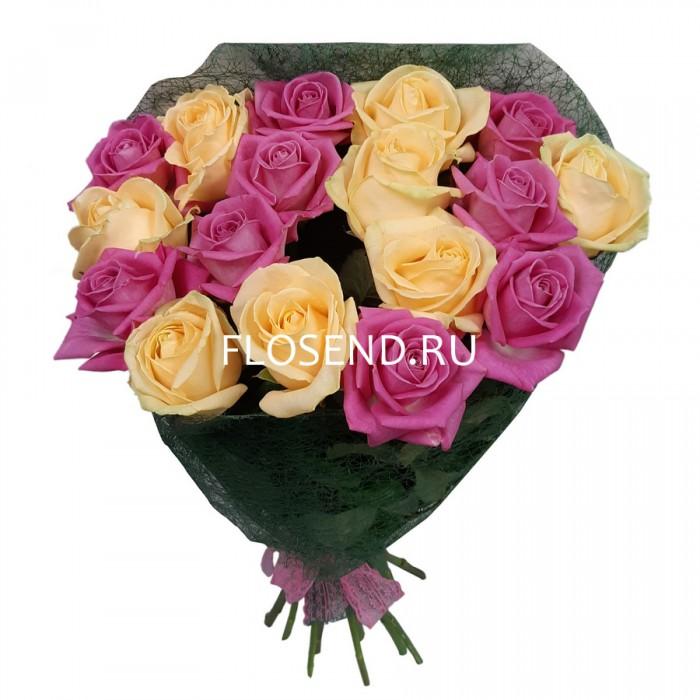 Букет из 17 кремовых и розовых роз