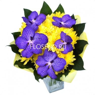 Букет с орхидеей ванда